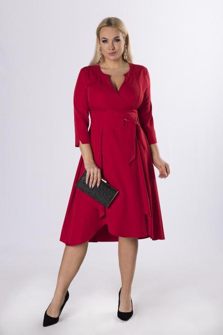 POKER  sukienka o kopertowym kroju z wiązaniem w pasie M73590 Платье Красный оптом