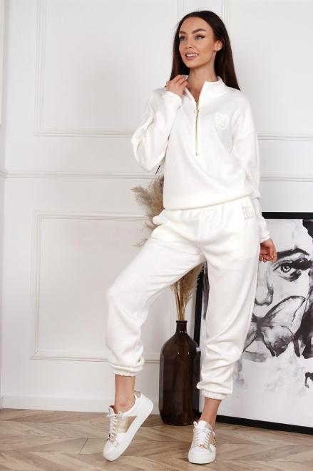 BRANDENBURG  dzianinowy komplet dresowy  M83464 Трикотажные брюки Кремовый оптом