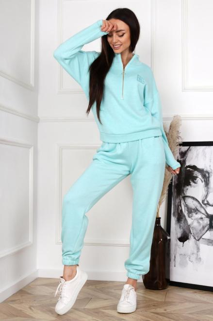 BRANDENBURG  dzianinowy komplet dresowy  M83464 Трикотажные брюки Голубой оптом