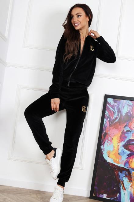 BRANDENBURG  welurowy komplet dresowy  M83460 Трикотажные брюки Черный оптом