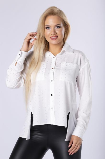 MONIKA  koszula z wycięciem na dole M77422 Блузка Белый оптом