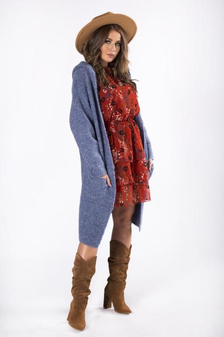 NATI  długi sweter z kapturem  M82241 Свитер Голубой оптом