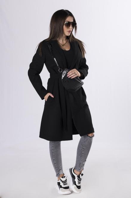 BRANDENBURG  klasyczny płaszcz z wiązaniem  M83250 Плащ Черный оптом
