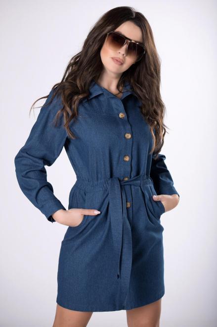 BODOO  jeansowa sukienka szmizjerka M83413 Платье Темносиний оптом