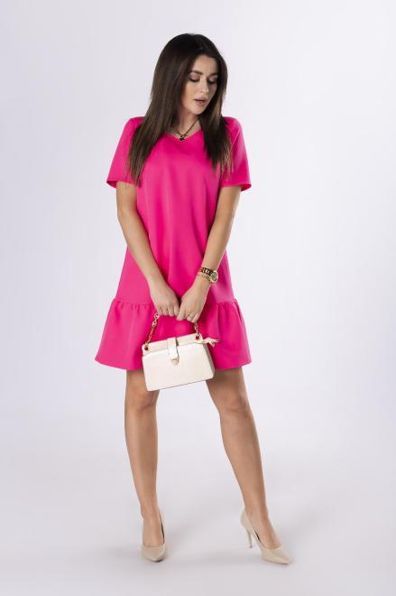 Bien Fashion  trapezowa sukienka z falbaną M83401 Платье Розовый оптом