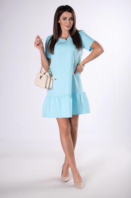 Bien Fashion  trapezowa sukienka z falbaną M83401 Платье Голубой оптом