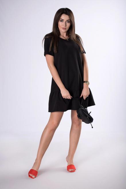 Bien Fashion  trapezowa sukienka z falbaną M83401 Платье Черный оптом