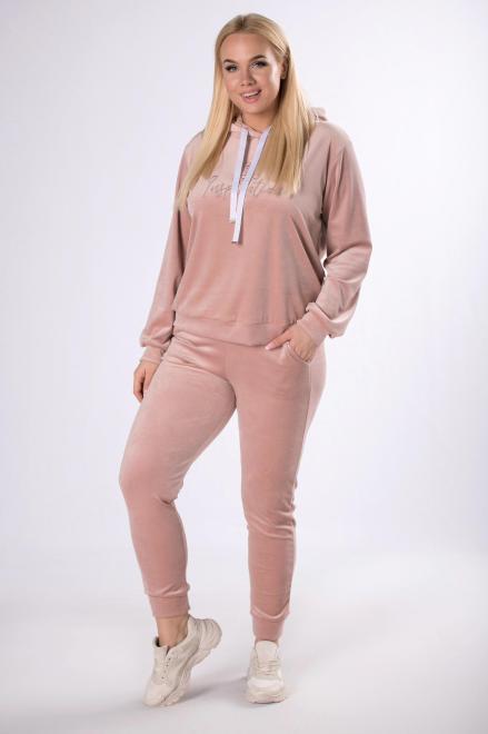 IWA  welurowy dres z haftowaną aplikacją M83466 Трикотажные брюки Розовый оптом