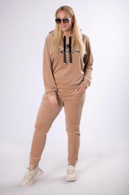 IWA  welurowy dres z haftowaną aplikacją M83466 Трикотажные брюки Бежевый оптом
