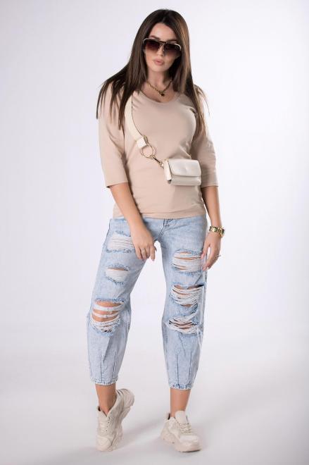 IWA  bawełniana bluzka z rękawem 3/4 M83467 Блузка Бежевый оптом