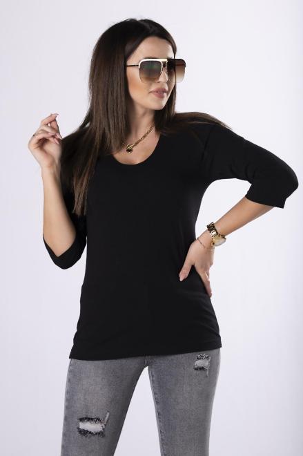 IWA  bawełniana bluzka z rękawem 3/4 M83467 Блузка Черный оптом