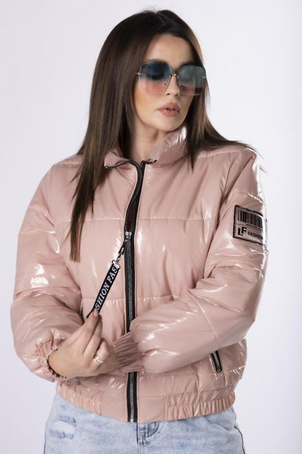 KAJA  foliowana kurtka bomberka M83459 Регулар Розовый оптом