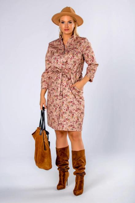 MARCELLO  sukienka szmizjerka z wiązaniem M81503 Платье Бежевый оптом