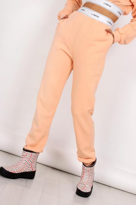 MISS CITY OFFICIAL  dresowe spodnie z taśmą M83591 Брюки Оранжевый оптом
