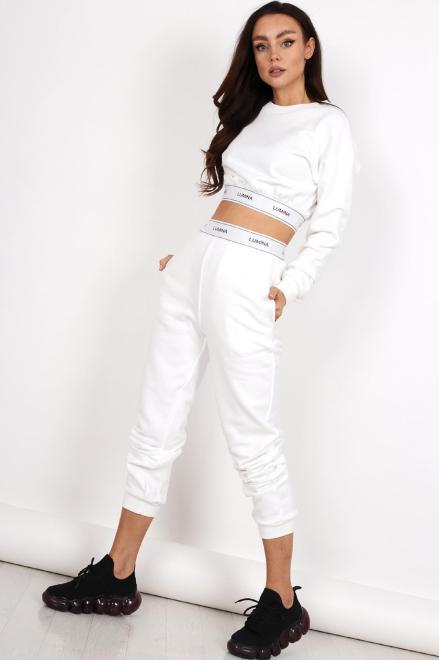 MISS CITY OFFICIAL  dresowe spodnie z taśmą M83591 Брюки Белый оптом