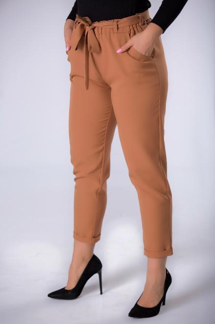 ANET  spodnie z talią paper bag M83534 Брюки Коричневый оптом
