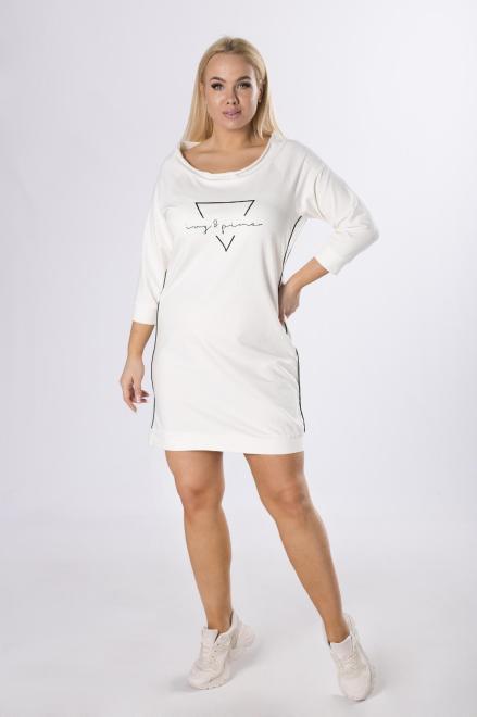 BELLEZZA  dresowa sukienka z nadrukiem M83486 Платье Кремовый оптом