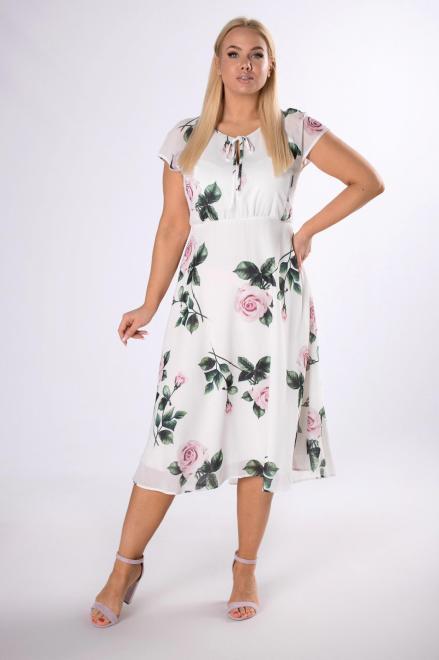 KMX FASHION  szyfonowa sukienka w kwiaty M83489 Платье Кремовый оптом