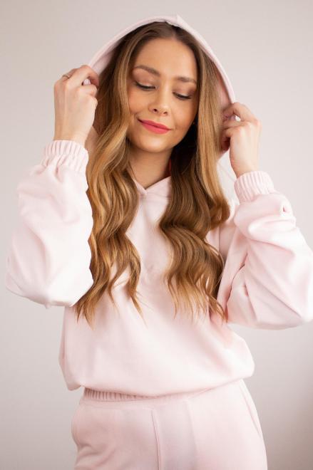 LA PERLA  welurowy dres z napisem na biuście M82290 Трикотажные брюки Розовый оптом