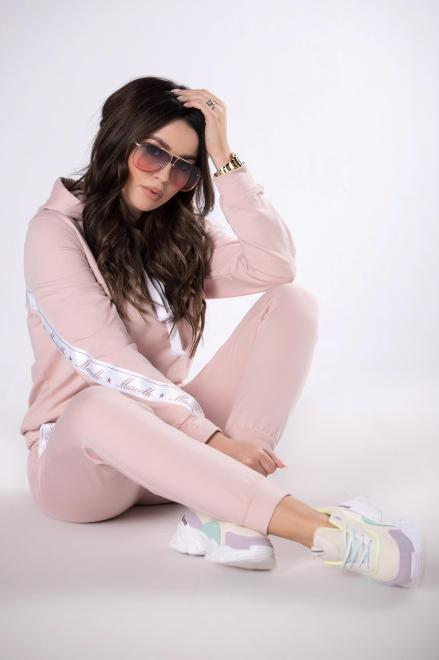 MARCELLO  dres z lampasami M79891 Трикотажные брюки Розовый оптом