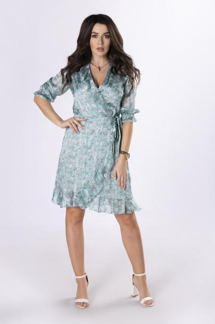 KMX FASHION  kopertowa sukienka midi w kwiaty M83492 Платье Зеленый оптом