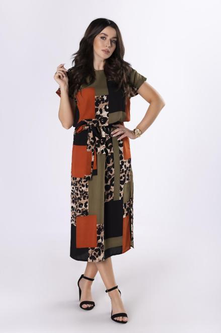 MARTEX  wzorzysta sukienka z paskiem M83528 Платье Multikolor оптом