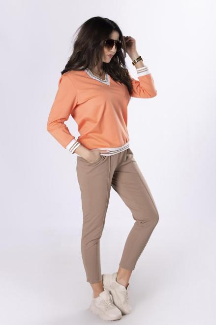 MARCELLO  komplet dresowy z dekoltem w serek M83612 Трикотажные брюки Multikolor оптом