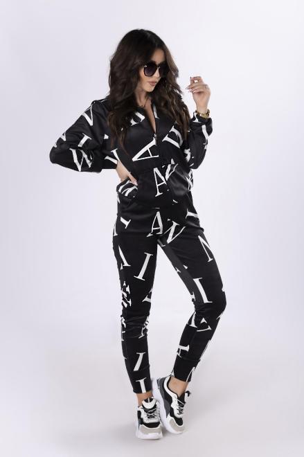IWA  welurowy dres z nadrukiem M83578 Трикотажные брюки Черный оптом