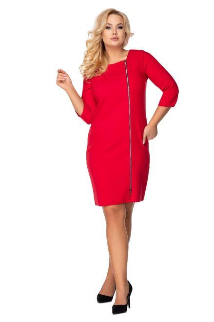 MARCELLO  taliowana sukienka z ozdobnym suwakiem M72925 Платье Красный оптом