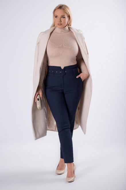 BB  eleganckie spodnie z paskiem M82711 Брюки Темносиний оптом