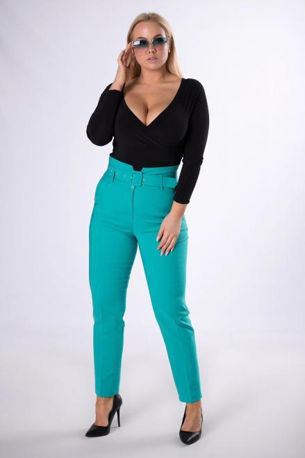 BB  eleganckie spodnie z paskiem M82711 Брюки Зеленый оптом
