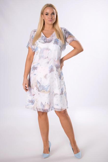 KMX FASHION  szyfonowa sukienka w kwiaty M83490 Платье Кремовый оптом