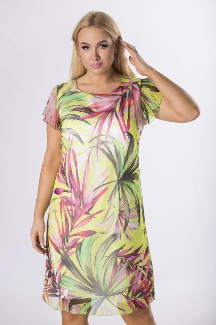 KMX FASHION  szyfonowa sukienka w liście M83488 Платье Зеленый оптом