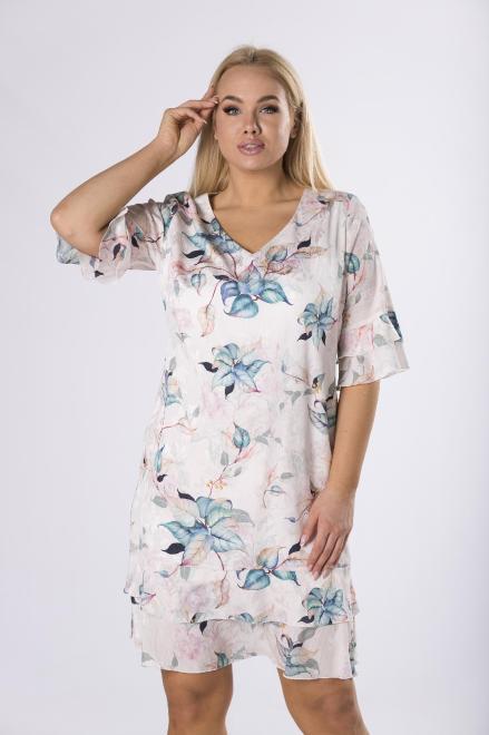 KMX FASHION  szyfonowa sukienka w kwiaty M83502 Платье Multikolor оптом
