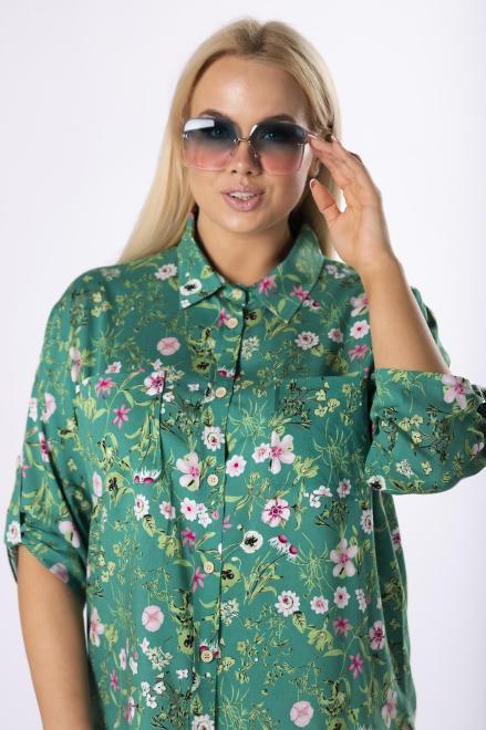 BODOO  koszula w kwiaty M83506 Рубашка Зеленый оптом