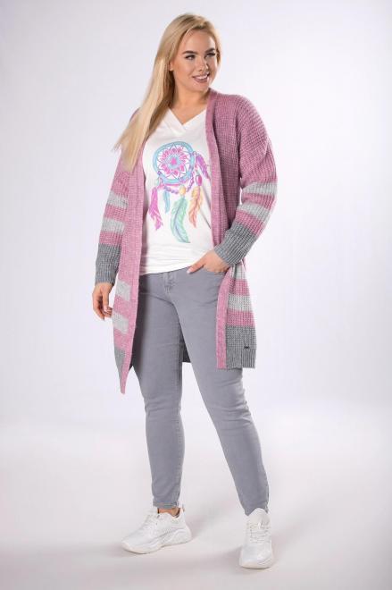 NATI  długi sweter z grubym splotem M83629 Свитер Розовый оптом
