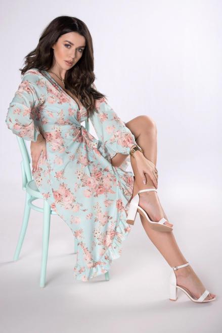 OOH LA LA  kopertowa sukienka w kwiaty M78798 Платье Зеленый оптом