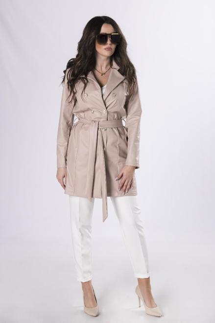 Bien Fashion  dwurzędowy płaszcz z imitacji skóry M83571 Плащ Бежевый оптом