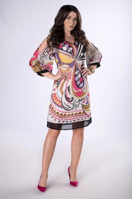 KMX FASHION  wzorzysta sukienka z plisowanymi rękawami M83504 Платье Multikolor оптом