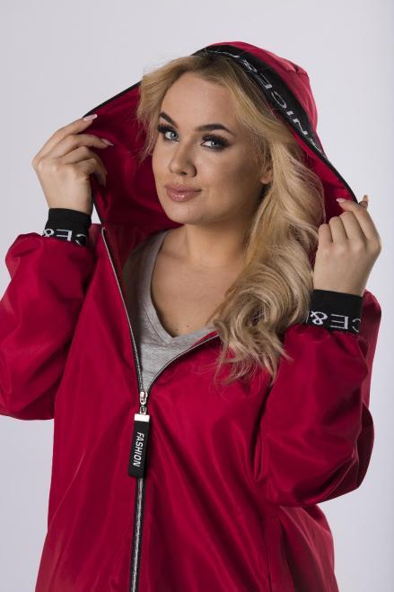 ADRAINO INES ROSE  sportowy płaszcz z kapturem  M83240 Плащ Красный оптом