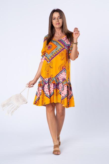 BODOO  trapezowa sukienka z falbanami i dekoltem w serek M80058 Платье Желтый оптом