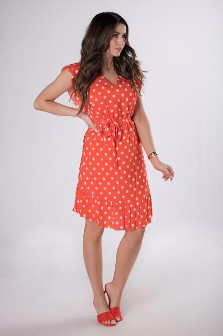 KMX FASHION  sukienka w groszki M83505 Платье Оранжевый оптом