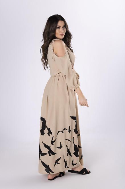 MARTEX  sukienka maxi z rozcięciami M83482 Платье Бежевый оптом