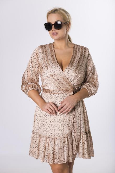 BELLEZZA  kopertowa sukienka z wiązaniem M76619 Платье Бежевый оптом