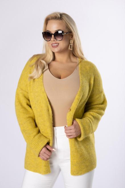NATI  sweter z dwurzędowym zapięciem M83661 Свитер Желтый оптом