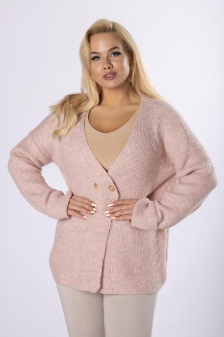 NATI  sweter z dwurzędowym zapięciem M83661 Свитер Розовый оптом