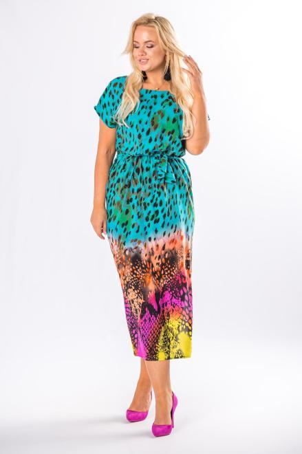 MARTEX  sukienka midi z wiązaniem w pasie M80530 Платье Зеленый оптом