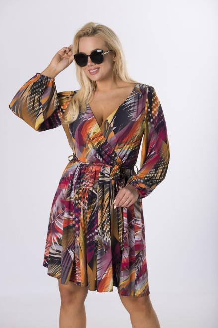 MARTEX  kopertowa sukienka z wiązaniem M76815 Платье Multikolor оптом