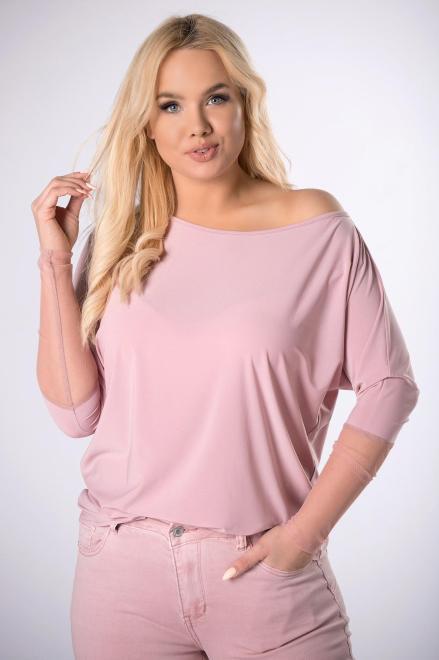 Bien Fashion  bluzka z siateczką na rękawach M83679 Блузка Розовый оптом