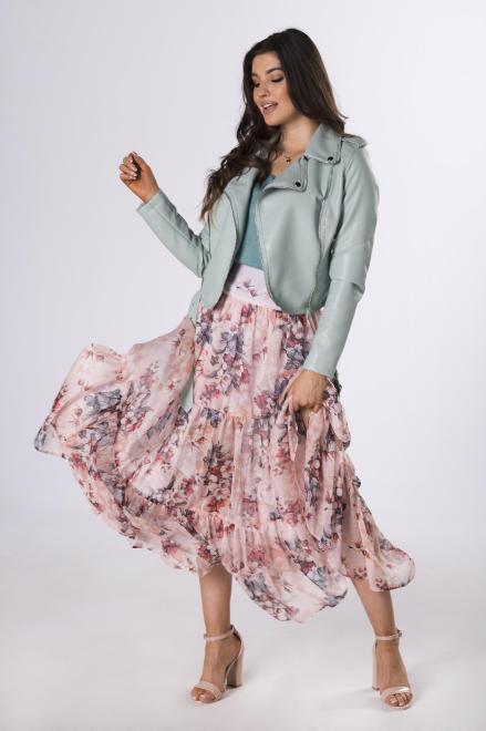 MARTEX  szyfonowa spódnica w kwiaty M83725 Юбка Розовый оптом